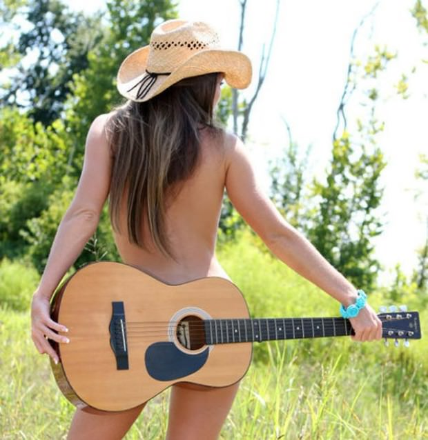 Naked women with guitar