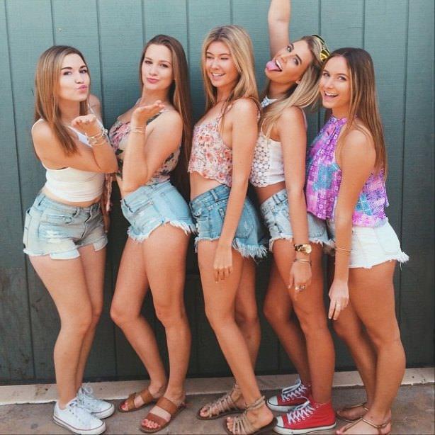 Blond teen girls solo