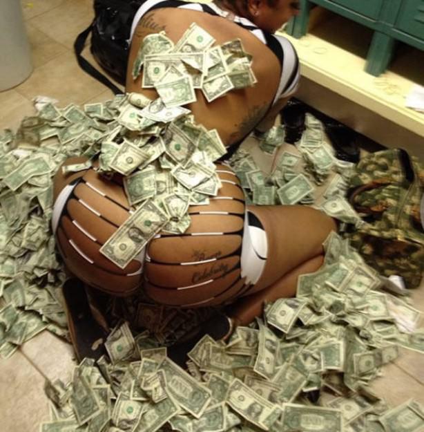 Ass black panties money stock photo